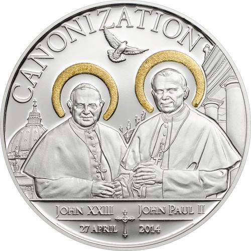 Tanzania 2014 Canonization of John Paul II 1000 Sh. Silver Proof Coin Gilded