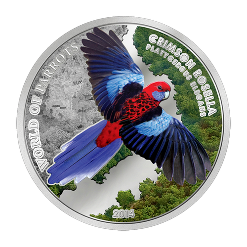 World of Parrots Crimson Rosella-$5 Silver 3D Coin 2014 Cook Islands