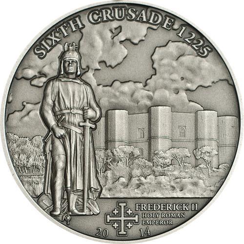 CRUSADE 6 Frederick II Silver Coin 5$ Cook Islands 2014