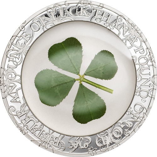 Four leaf clover-Ounce of Luck Proof Silver Coin $5 Palau 2016