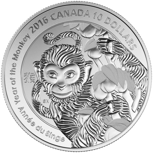 2016 $10 1/2 oz Fine Silver Coin - Year of the Monkey
