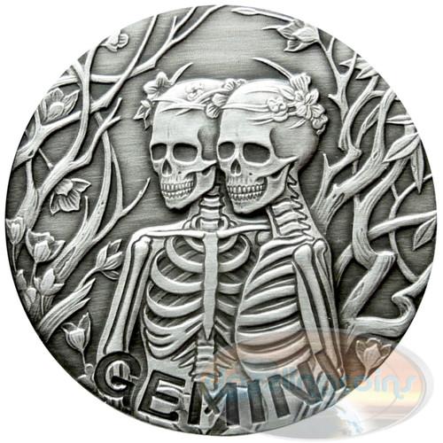 2015 ZODIAC Gemini  MEMENTO MORI Rimless HR Antique Silver 1oz