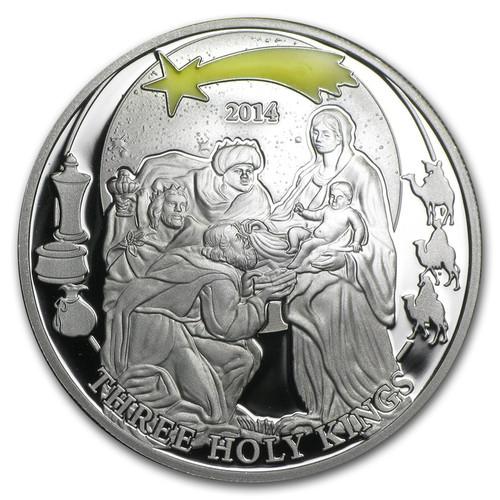 Three Holy Kings - Biblical Stories Silver Coin 2$ Palau 2014
