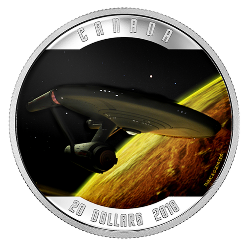 Star TrekTM: Enterprise (2016) - 1 oz. Pure Silver Colored Coin