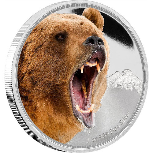 GRIZZLY BEAR - Kings of Continents - 1 oz Silver Coin Niue 2016
