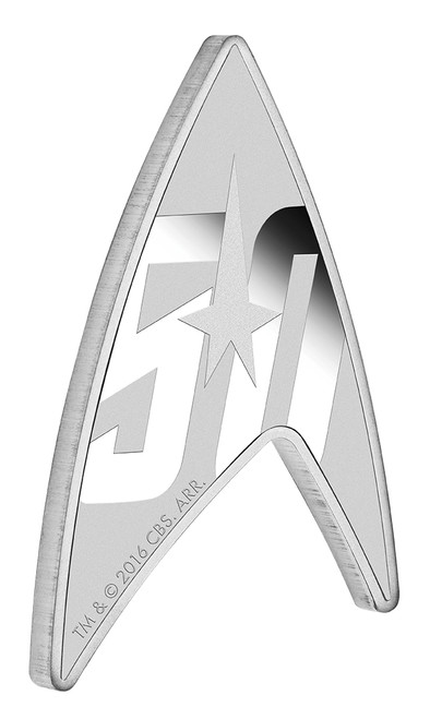 Star Trek -SILVER DELTA - 50th.Ann. 2016 $1 1 oz Silver Coin side