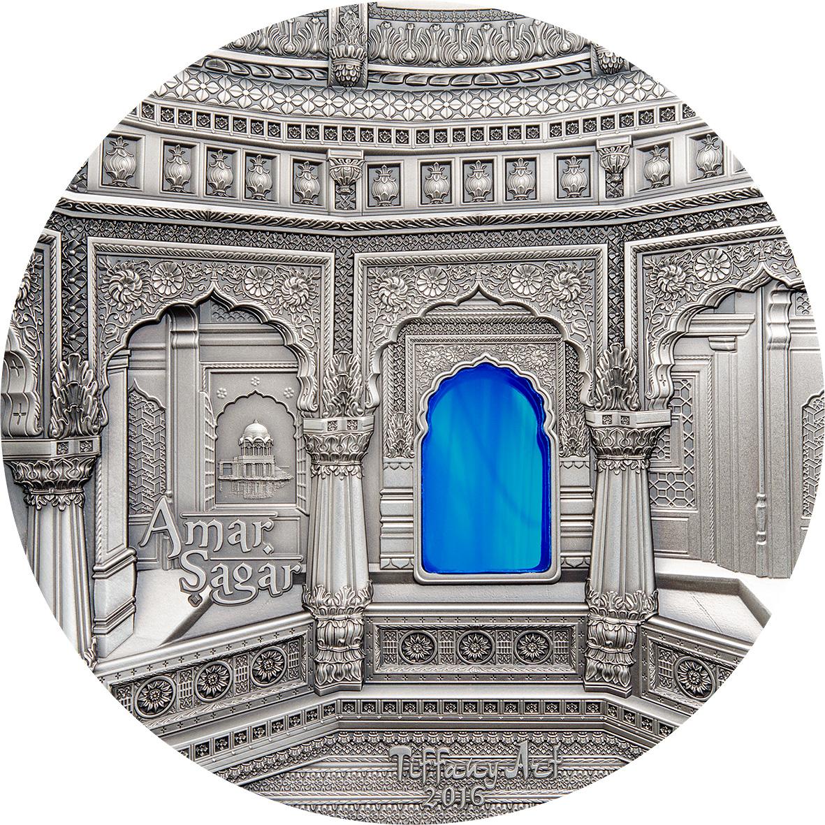 Palau 2016 $10 Tiffany Art - Jain Temple India 2 Oz Silver Coin