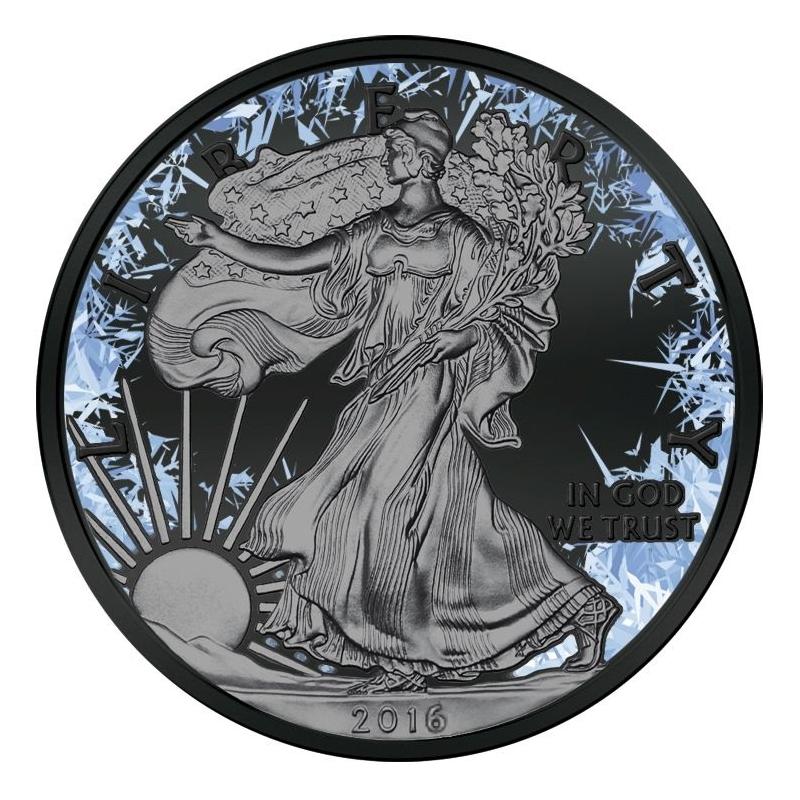 Walking Liberty Deep Frozen $1 1oz Silver Ruthenium & Platinum Plated Coin 2016
