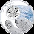 Tokelau 2015 $1 POLAR BEAR 1oz Silver Coloured Coin With Filigree