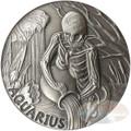 2015 ZODIAC AQUARIUS MEMENTO MORI Rimless HR Antique Silver 1oz