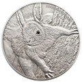RED SQUIRREL- black Swarovski Silver Coin 5$ Palau 2012