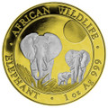 African Elephant 1 oz  Silver Coin - 2014 Somalia - Reverse Gilded - 24K Gold