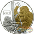 2016 Tokelau 1 Oz .999 Silver Year of the Monkey $5 Gilded Coin