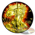 """2014 1 oz Silver Coin - American """"Flaming Buring Silver Eagle - Silver & Ruthenium & Gold Plated Coin"""