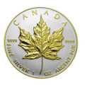 2013 1 oz Silver Maple Leaf Double Rim Gilded - 24K Gold