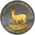 2015 Gabon - Golden Enigma - Springbok- Silver & Ruthenium & Gold Plated Coin