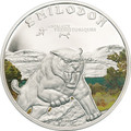 Sabre Tooth Smilodon Tiger - Silver Proof Coin 1000 Fr. Ivory Coast 2011