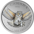 Great Horned Owl Color  - 2015 Canada 1 oz .9999 Silver Coin