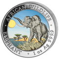2016 Somalia~ African ELEPHANT Color 1oz Silver Coin