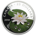 $20 WATER LILY with Swarovski Crystal Silver Coin 2010