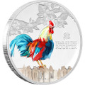 YEAR OF THE ROOSTER - 2017 1 oz Pure Silver Color Coin - NZ Mint