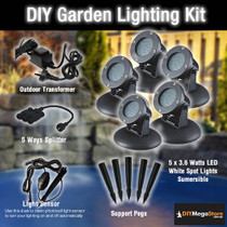 DIY Garden / Pond Lighting Kit - 5 x 3.6 Watt LED spotlights Kit
