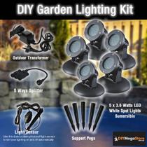 DIY Garden / Pond Lighting Kit - 5 x 3.6 Watt LED spotlights Kit