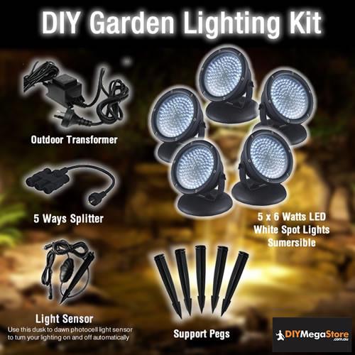 DIY Garden / Pond Lighting Kit - 5 x 6 Watt LED spotlights