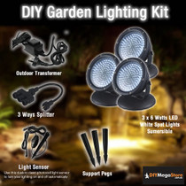 DIY Garden / Pond Lighting Kit - 3 x 6 Watt LED spotlights
