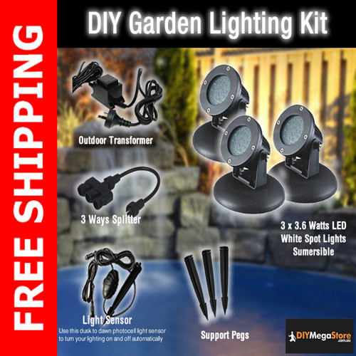 DIY Garden / Pond Lighting Kit - 3 x 3.6 Watt LED spotlights Kit