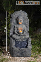 Zen Japanese Buddha 'Gesture of Meditation' Ornament & Water Fountain