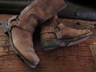 SOLD! Cooler than Cool, Dusty brown Leather harley Davidson Harness Biker boots sz 10 US