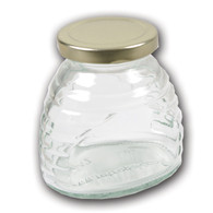 12 oz. Glass Skep (hive) Jars (12 count case w/58mmlug Gold Metal Lids) [SK-8]