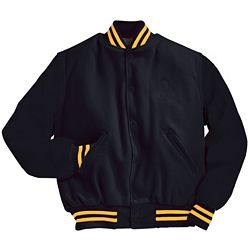 Solid Black Letterman Jacket with Two Light Gold Stripes