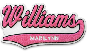 Sample Letterman Jacket Varsity Name Patch in Pink