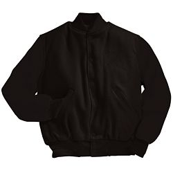 Solid Black Varsity Letterman Jacket