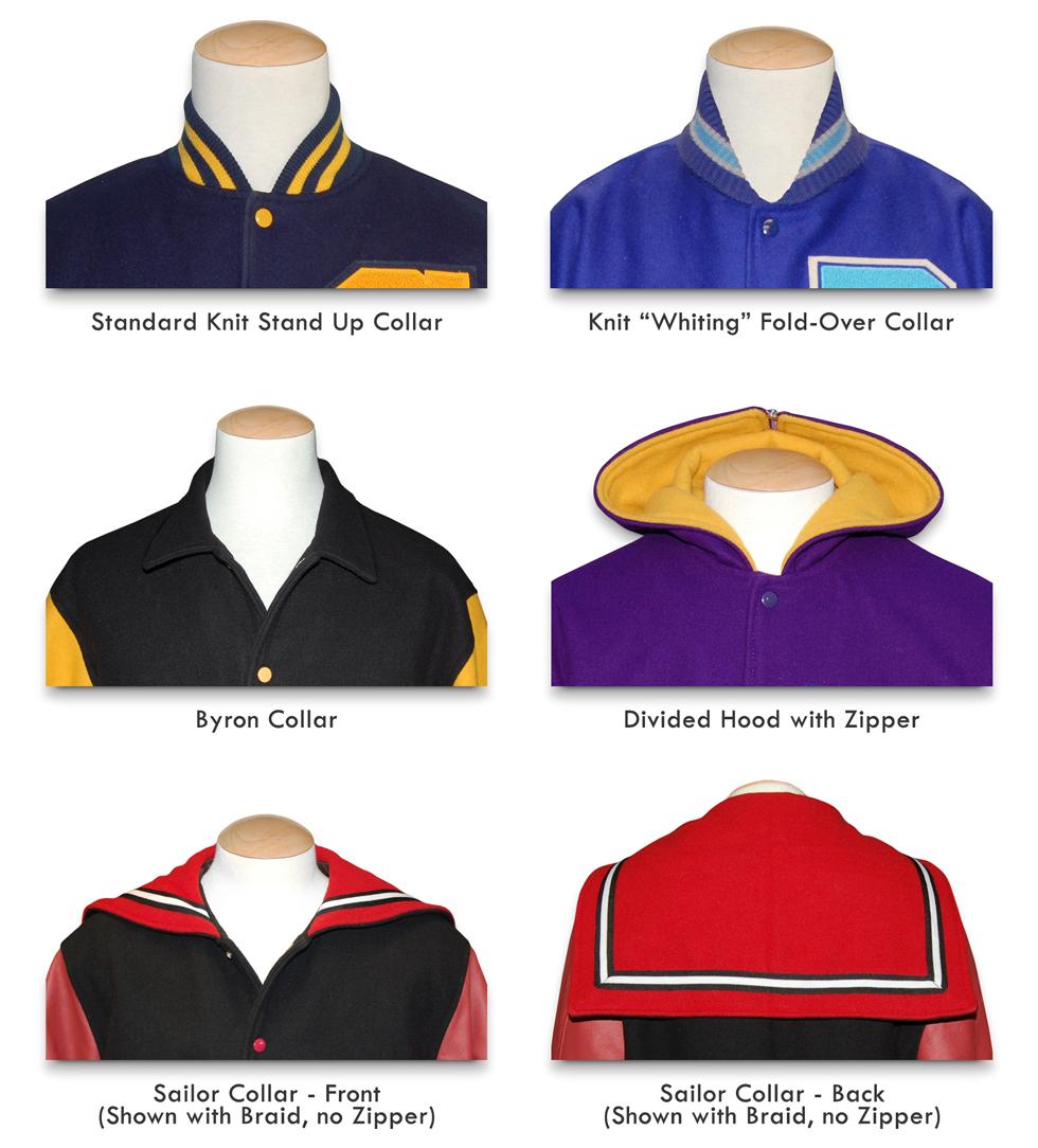 varsity letterman jacket collar styles at mount olympus awards