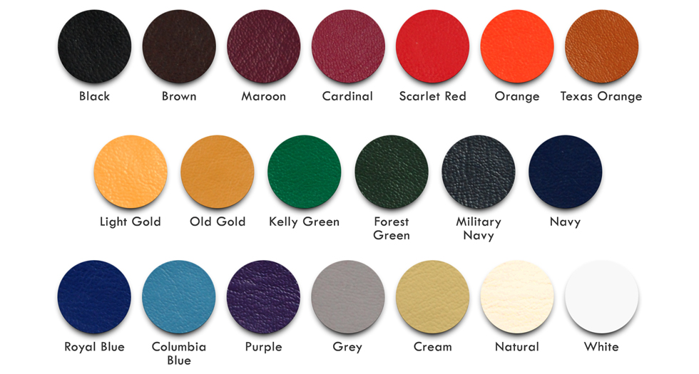 Vinyl Color Chart for Mount Olympus Awards Varsity Letterman Jackets