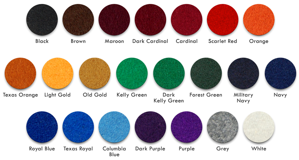 Wool Color Chart for Mount Olympus Awards Varsity Letterman Jackets