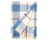 Plaid Collection - Blue, Natural, and Burgundy Cotton Blanket