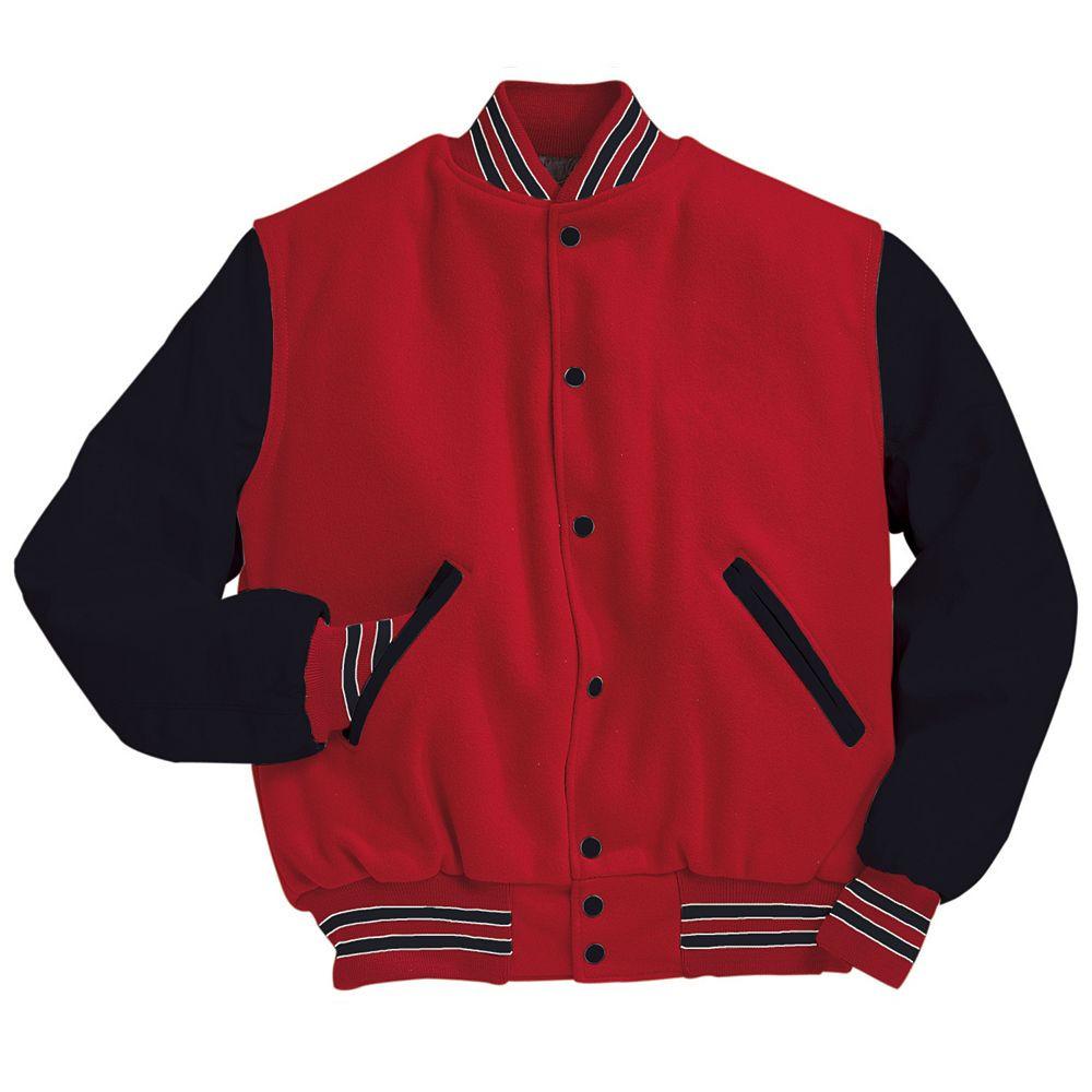 Scarlet red and black varsity letterman jacket for Varsity letter man jacket