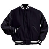 Solid Dark Navy Varsity Letterman Jacket with White Stripes