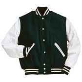 Dark Green and White Varsity Letterman Jacket