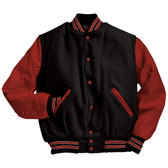 Black and Scarlet Red Varsity Letterman Jacket