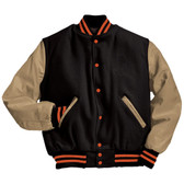 Black and Cream Varsity Letterman Jacket with Orange Stripes