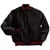 Solid Black Varsity Letterman Jacket with Scarlet Red Stripes