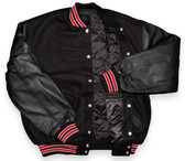 Black Varsity Letterman Jacket with Red & White Stripes