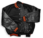 Black and Orange Leather Varsity Letterman Jacket