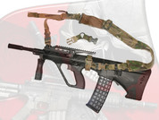 This shows the URBAN-SENTRY Hybrid sling kit for the STG-56 and Styer AUG configured into a dedicated two point sling.