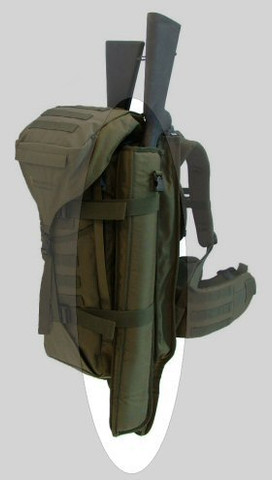 Short Shotgun Scabbard on a back pack.